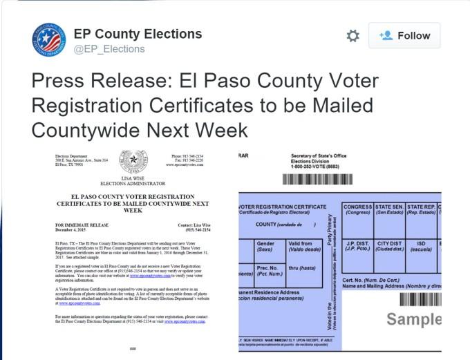 Voter Registration Cards Tweet
